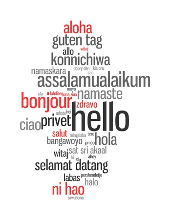 foreign: Background concept wordcloud illustration of hello (greet people) different languages