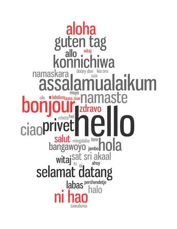 saluta: Sfondo concetto illustrazione wordcloud ciao (salutare le persone) diverse lingue