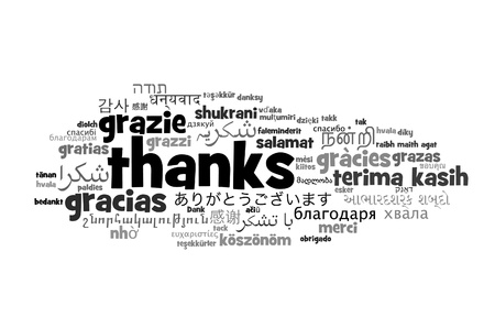 thanks: Background concept wordcloud illustration of thanks different languages