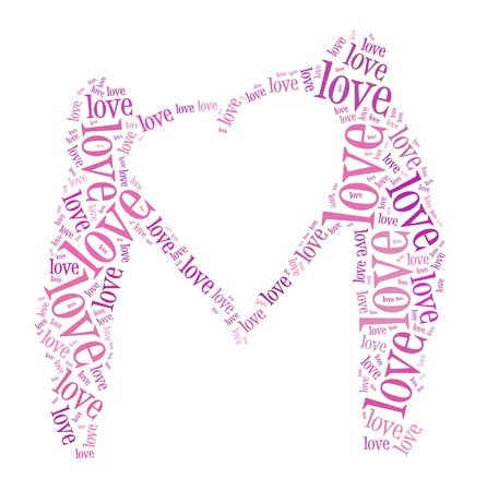 Background concept wordcloud illustration of couple in love Stock Illustration - 12193589