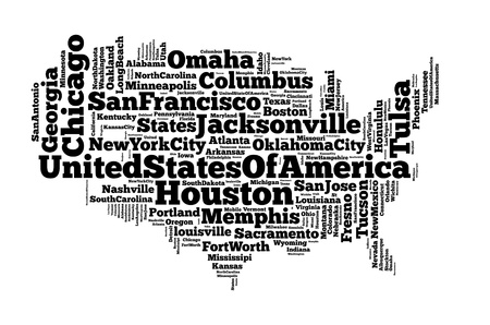 United States of America info-text graphics and arrangement concept on white background photo