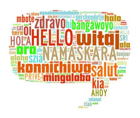 idiomas: Wordcloud concepto de fondo ilustraci�n de hello (saludar a la gente) idiomas diferentes Foto de archivo