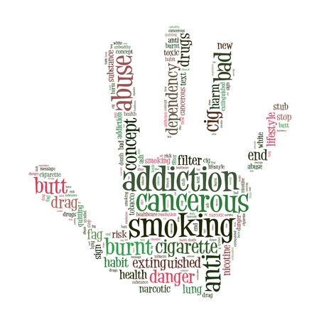 stop smoking info-text graphics and arrangement concept on white background Stock Photo