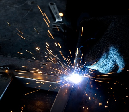 fabrication: closeup of spot welding process Stock Photo