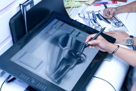 KUALA LUMPUR, MALAYSIA - DEC 3: An unidentified artist showcases a digital sketching of a concept car during Kuala Lumpur International Motor Show on December 8, 2010 in Kuala Lumpur Malaysia. Editorial