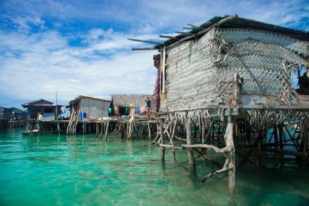 stilts: Sea gypsies houses on stilts in Semporna, Sabah, Borneo, Malaysia