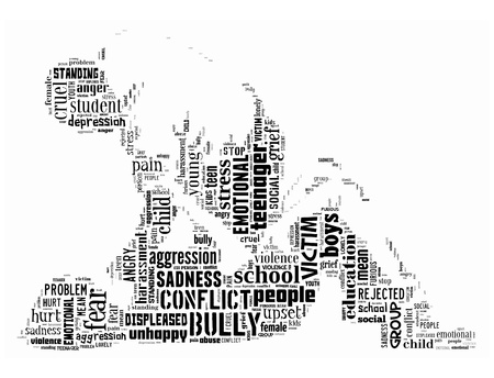 Background concept wordcloud illustration of bully isolated on white background   Stock Photo