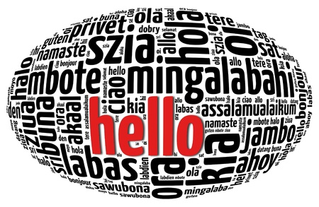 greet: Background concept wordcloud illustration of hello (greet people) different languages