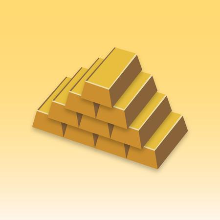 gold ingot: Bullion Realistic gold bars. Illustration