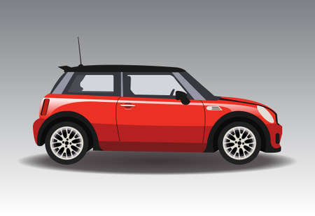 赤いミニ車。