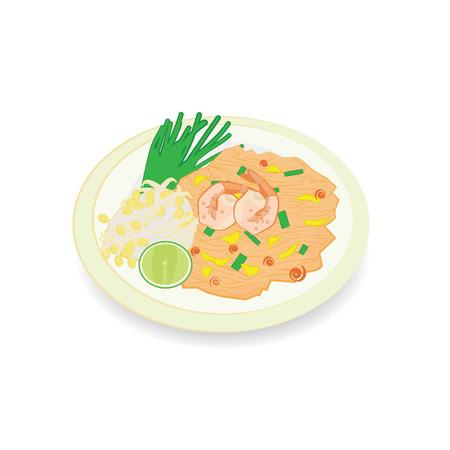Thai food Pad thai , Stir fry noodles with shrimp on banana leaf.  Illustration