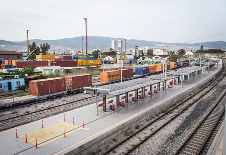 goods train: The train station in Izmir near Izmir airport which have many containers  It show that Izmir is the city of import and export goods
