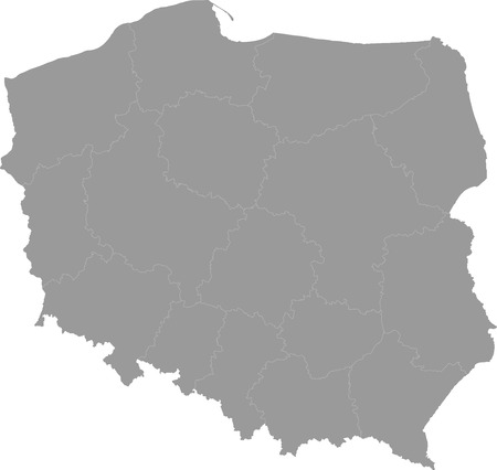 concerning: Grey, detailed map of Polish administrative divisions
