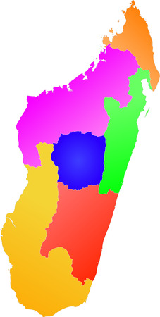 divided: Color,  detailed map of Madagascar divided into provinces. Each province is on a separate layer