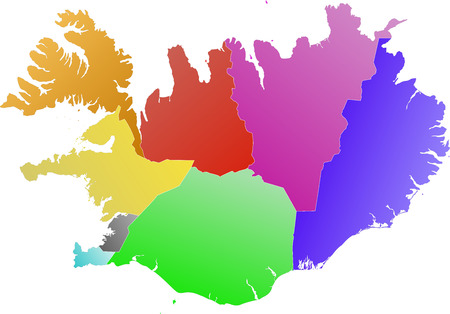 concerning: Detailed map of Iceland divided into regions. Each region is on a separate layer (concerning vector file). Illustration