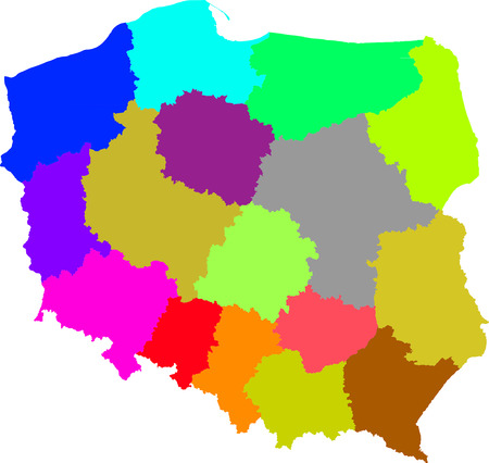 concerning: Color, detailed map of Polish administrative divisions.  Each division is on a separate layer (concerning vector file).