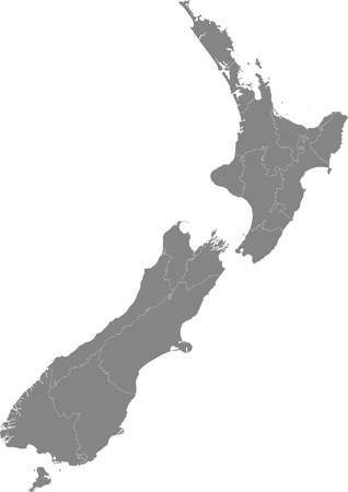 Detailed map of New Zealand divided into regions.