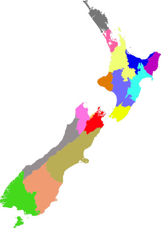concerning: Color, detailed map of New Zealand divided into regions. Each division is on a separate layer (concerning vector file). Illustration