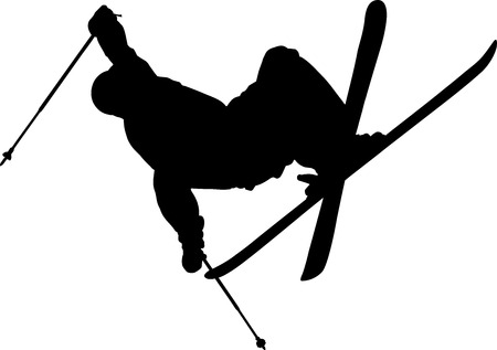 skier: Black shape of skier during freestyle jump