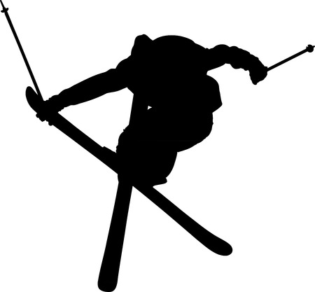 freestyle: Black shape of skier during freestyle jump