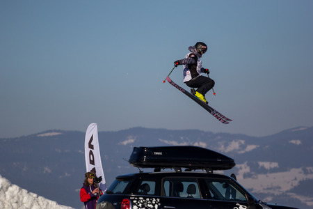 ski jump: Białka Tatrzańska, Poland - 14th February 2015 -  Erik Lundmark, during freestyle ski jump at Polish Freeskiing Open contest Editorial
