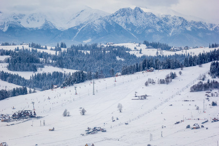 giewont: Ski resort in southern Poland, with the tatra mountains in the background Stock Photo