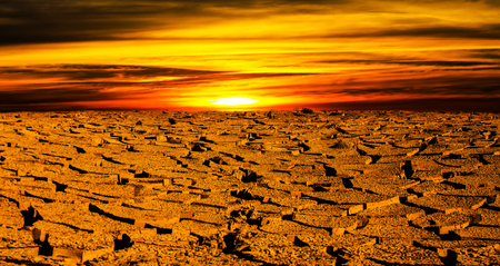 Dry land with the sunset Stock Photo