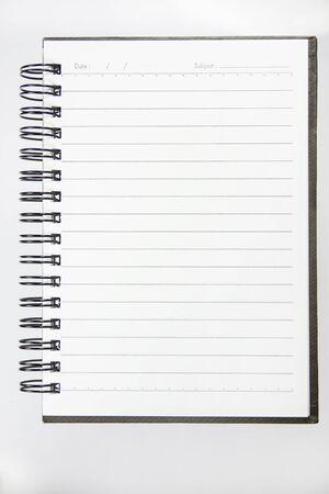 rolodex: Blank spiral binder notebook on white screen