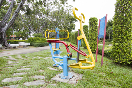 excercise: excercise machine in park at thailand