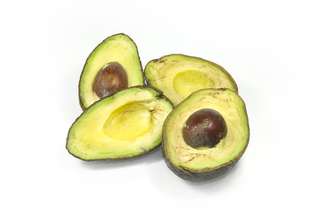addle: rotten avocado on white screen