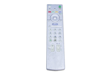 command button: Never clean the old remote control. Stock Photo