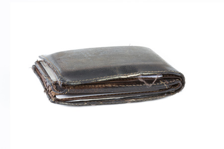lacking: Old Used Wallet Isolated on white background