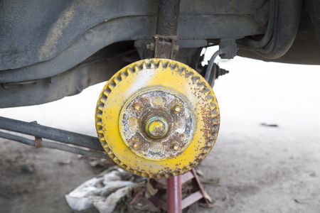 useless: Old brake disc useless with rusty without tire