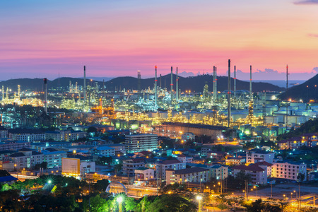 gas supply: Oil refinery at dramatic twilight