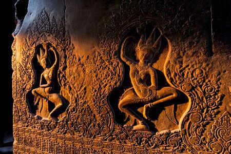 Inside Angkor Wat Stock Photo