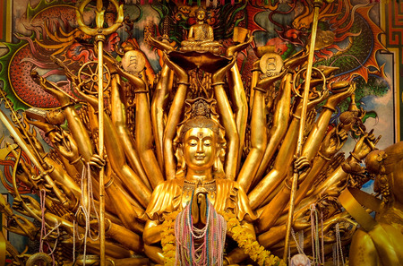 January 1, 2018 - Ayutthaya, Thailand -The golden thousand hands and eyes Guanyin Buddha in Wat Phranang.