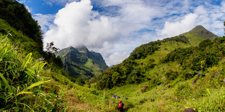 View of Doi Luang Chiang Dao And tourists in Chiang Dao Chiang Mai Thailand. In panoramic view