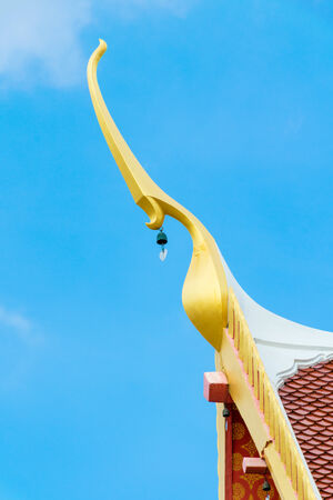 apex: gable apex architecture of golden buddha Phrae of thailand