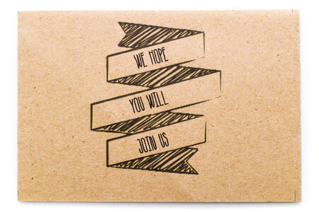 write us: write text (we hope, you will, join us) on brown paper background texture