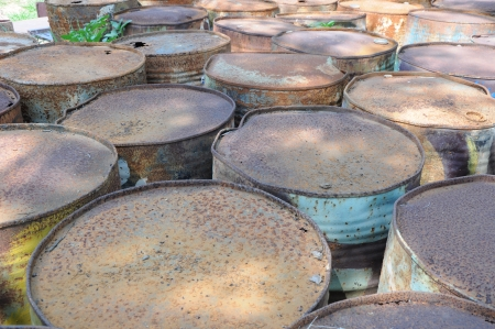 Rusty fuel and chemical drums  photo