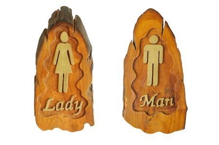 Toilet Signs made of wood with white background Stock Photo - 13829117
