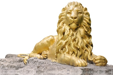 Golden lion statue isolate on white background
