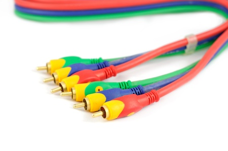 Audio video cable isolated white background Stock Photo - 14569563