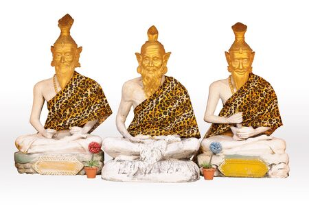 recluse: Three recluse statue in temple with white background Stock Photo