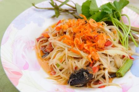 Green papaya salad thai cuisine spicy delicious Stock Photo - 15333168