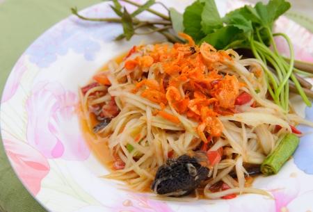 green papaya salad: Green papaya salad thai cuisine spicy delicious Stock Photo