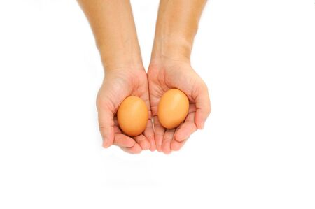 Hand With Egg Isolated On White Background photo