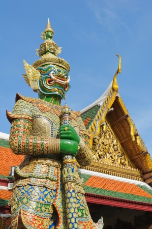 Giant Stand Guard in Wat Phra Keaw, Bangkok inThailand