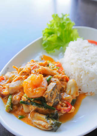 Thai food. rice and shrimp with sweet and spicy sauce, stir and serve with rice Stock Photo
