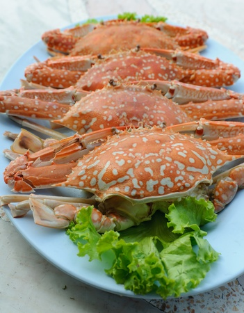 Steamed crab thai food on plate